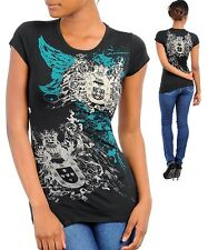 N04 -XSmall- Black,Wings Tattoo Print with Rhinestones Stretch,Cotton Top