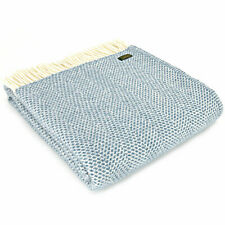 TWEEDMILL 100% Wool Sofa Bed Throw Blanket Rug HONEYCOMB BEEHIVE PETROL BLUE