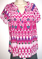 Dana Buchman Women's Short Sleeve Silky Print Pullover Top Size Large