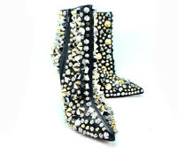 Christian Louboutin Black Stud Embellished So Full Kate Ankle Boots Sz 35.5