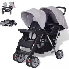 Kinderwagen Buggy Geschwisterwagen Stahl Baby Doppelkinderwagen Twins  Grau