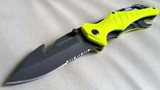 Professional Blade Dive Scuba Diving folding knife Blunt Tip freedive aus8 yello