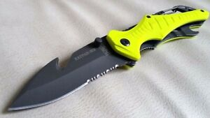Professional Blade Dive Scuba Diving folding knife Blunt Tip freedive aus8 yello