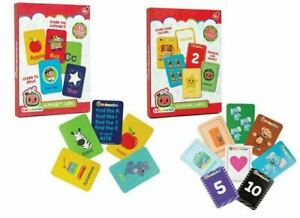 Cocomelon First Learning Cards Numbers Colours Shapes or Alphabet Spelling 18m+