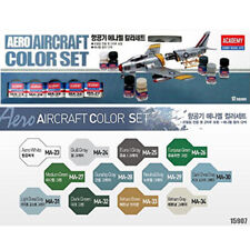 Academy Aircraft Enamel Color Set #15907 12 Color + Two brushes