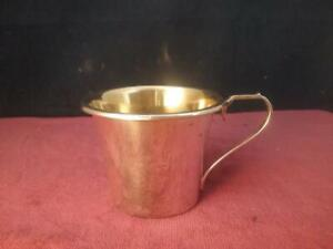 Hallmarked Solid Sterling Silver Stylish Cup with Gilt Wash   Birmingham B & Co