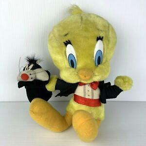 Vintage Looney Tunes Tweety Bird Magician w/ Sylvester in Hat Plush Warner Bros