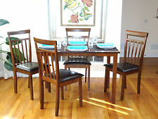 Dining Kitchen 5 PC SET Rectangular Table 4 Warm Chairs Breakfast Dark Walnut