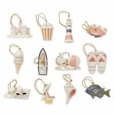Lenox Set of 12 Summer Ornaments Beach Fish Crab Shell -no Tree