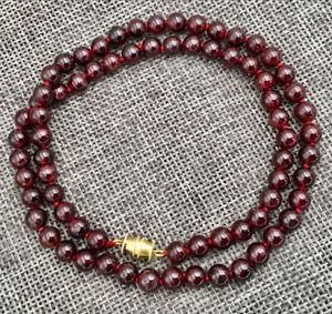Genuine Natural 6mm Deep Red Garnet Gemstone Round Beads Fashion necklace 18''