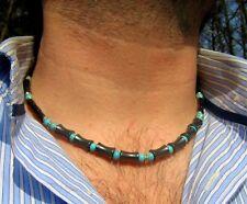 Men gemstone beaded mala NECKLACE,Turquoise,Hematite bamboo, Mala mens gift