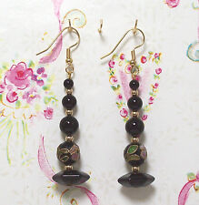 Filled Earrings. 2.5 Inches Long. E016 Black Onyx & Cloisonne With 14K Gold