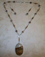 HAND MADE PICTURE JASPER/CRYSTAL NECKLACE/OVAL PICTURE JASPER PENDANT & EARRINGS