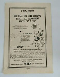 Vintage Program 1946 Northeastern Ohio Regional Basketball Tournament WKBN