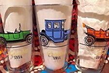 Hazel Atlas ANTIQUE CAR Water Soda 6 vTg  Glasses
