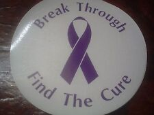 """Purple Ribbon Awareness """"Break Through Find The Cure"""" Static Window Cling Decal"""
