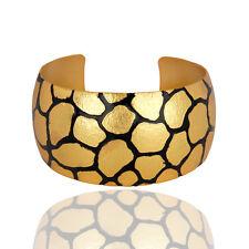 Handmade Wide Bangle Cuff Bracelet In 22k Yellow Gold Plated Brass Jewelry