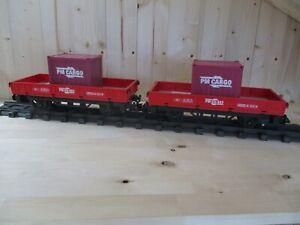 2 Playmobil Niederbordwagen rot aus Set 5258 (29)