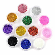 12 Colors Nail Art Tips Glitter Powder Dust Tips DIY Nail Decoration Kit