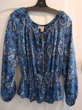MICHAEL KORS SILKY TUNIC TOP BLUE MULTI PATTERN  SCOOP NECK  LONG SL NWT  LGE