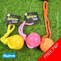 Ball with Rope Dog Toy - Glow in the Dark - Good Boy - Throw Fetch Chase Bounce