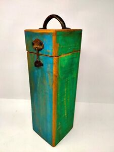 Old Look Wooden Bottle Storage Box Hand Crafted Painted Box With Handle Latch