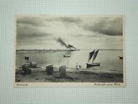 Grömitz Seebrücke: Ankunft neuer Gäste. Alte Ansichtskarte. Gelaufen 1929