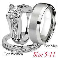 Men Women Lovers Silver Stainless Steel & Titanium Wedding Band Ring Jewelry Set