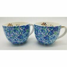 Lilly Pulitzer Set of 2 Blue Floral Ceramic Mugs Floral 12 oz BNIB