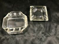 Pair of Vintage Mid Century Clear Glass Retro Ashtrays