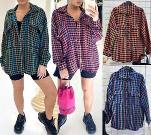 WOMEN'S MULTICOLOR DOGTOOTH SHACKET LADIES BUTTON UP COLLARED SHIRT TOP 8-14