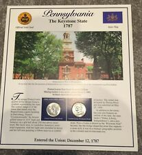 BU 1999 Pennsylvania P & D State Quarters & Stamps Informational Collector Card