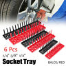 6Pcs Socket Organizer Tray Rack Storage Holder Tool Set Metric SAE 1/4 3/8 1/2""