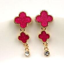 New Betsey Johnson 14k Gold Plated Flower Crystal Drop Dangle Stud Earrings