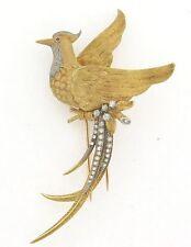 Unique Large Vintage 18K Gold Exotic Bird 25 Diamonds Brooch 29.9 Grams