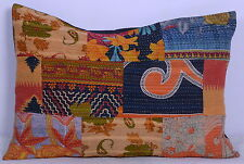 "Pillow Sham Cotton Kantha Stitched Cushion Cover Patchwork Decor Throw 28"" X 20"""