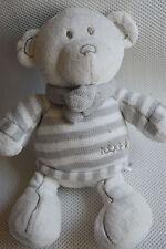 NEXT GREY STRIPE TEDDY BEAR BABY COMFORTER SOFT TOY