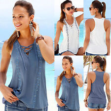 Summer Womens Sleeveless Lace Up Neck Vest T-Shirt Ladies Tank Tops Blouse  6-18