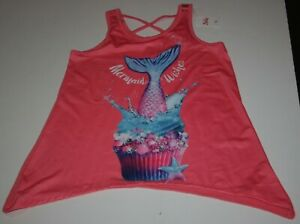 New Justice Girls Swing Tank Top 14 16 year Mermaid Wishes Coral Soft Tee