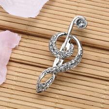 Hat Scarf Clip Cloth Accessory Antique Rhinestone Crystal Music Note Brooch Pins