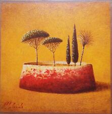 Peinture surréaliste,orientaliste, arène, pins,  cyprès,