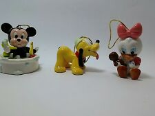 Disney Baby Mickey Daisy Pluto Ornaments Ceramic Porcelain Christmas 1984 vtg
