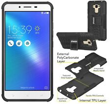 AMZER Black Dual Layer Hybrid Warrior Case Stand For ASUS ZenFone 3 Max ZC553KL