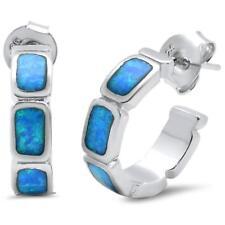 .925 Sterling Silver Earring Solid Blue Opal Huggie Hoop