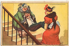 """DRUNKEN MAN. THE LEADING WOMAN AND MOTHER TO BED"" 1950 COMIC HUMOROUS POSTCARD"