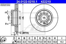2x Bremsscheibe für Bremsanlage Vorderachse ATE 24.0122-0210.1
