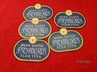 5 Zigarrenkisten Etiketten - Buen Gusto Primeros Flor Fina, Papier Reklame  /S54
