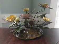 Vtg Toleware Mushroom Buttercup Flower Butterfly Centerpiece Italian Tole Metal