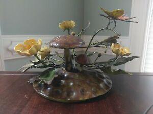 Vintage Toleware Mushroom Buttercup Flower Butterfly Centerpiece Italian Metal