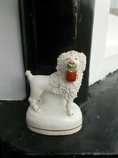 More details for antique staffordshire poodle with basket in mouth exellent condition